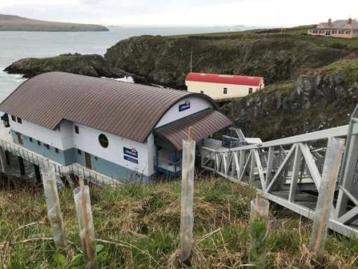 Walk from St David's: New and old St Justinian's lifeboat stations.