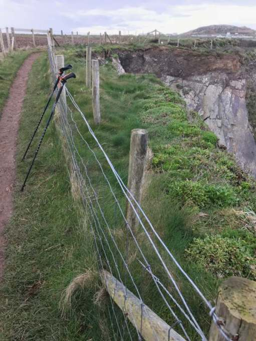 Walk from St David's: An older path diversion, where the original has disappeared into the sea.
