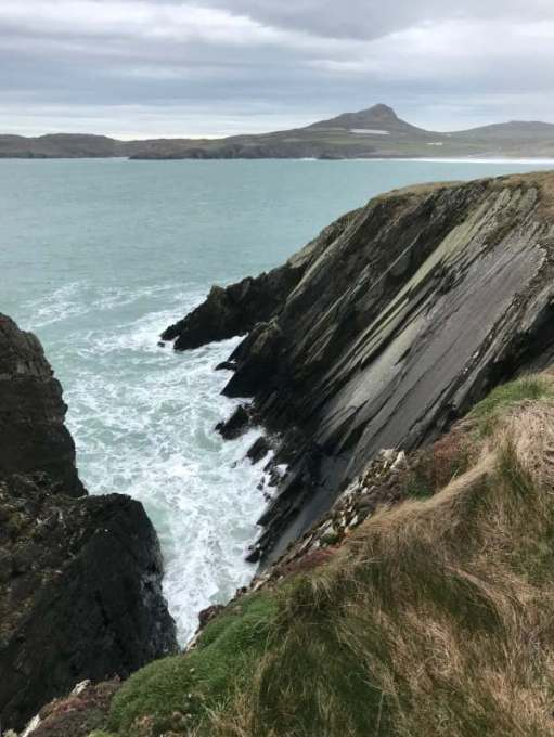 Walk from St David's: Looking towards Whitesands Bay. The big hill is Carn Llidi (Been on top of that with Diddley, 2001).