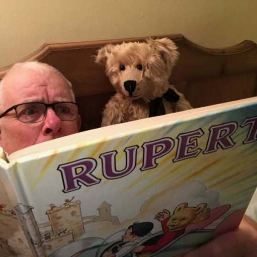 Cotswold Reverie: And a good read. Bertie and Bobby reading a Rupurt Bear book.