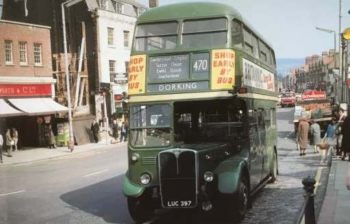 RT4048 LUC 397: London Country 470 in Dorking High Street 1969. Living in Carshalton. A ten bob Green Rover ticket and a ride to Dorking to walk in the hills. And eventually live there.