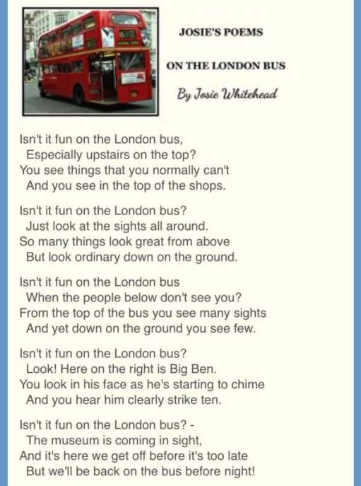 """On the London Bus"" by Josie Whitehead."