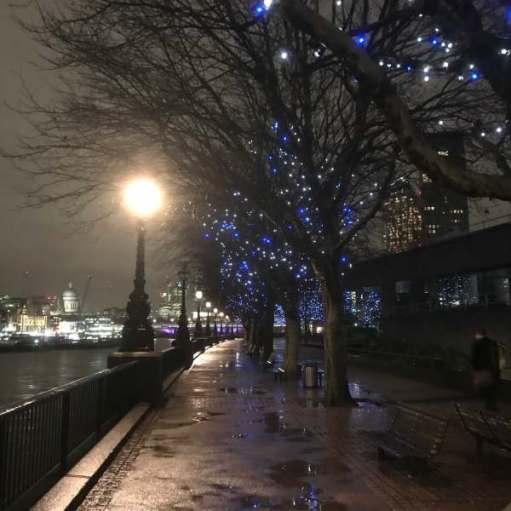 Tick tock. Walk in the rain. South Bank, River Thames, London.