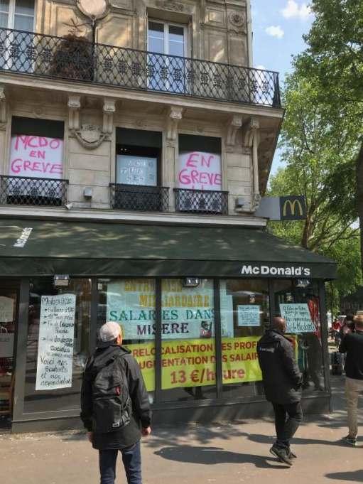 Aoril in Paris: Boulevard de Magenta. McDonalds having a bit of bovver.