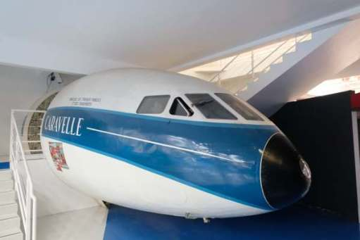April in Paris: Sud Aviation Caravelle airliner. They copied Britain's Comet for the cockpit. See below at de Havilland museum at London Colney.
