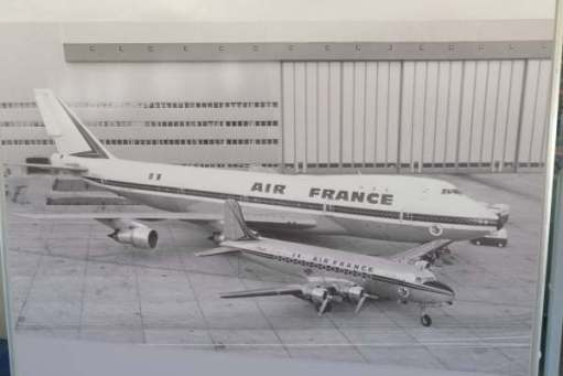April in Paris: A Douglas DC4 airliner from the fifties and a jumbo.