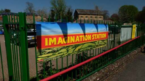 "Plenty of scope for that... (Sign saying ""Imagination Station"")"