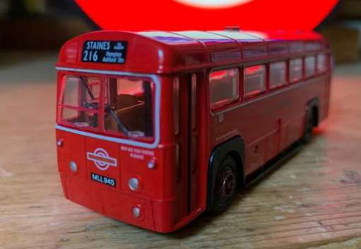 Purists will note that this model RF from the London Transport Museum has passenger doors. They didn't on the 213 in 1954. Drafty!
