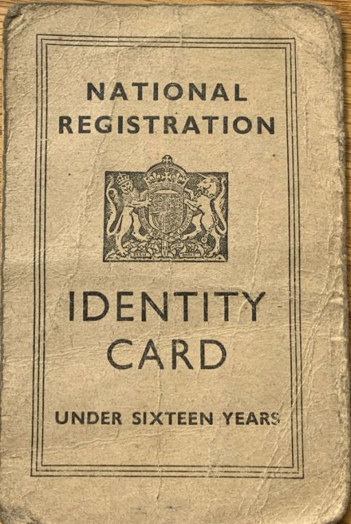Front of the National Registration Identity Card for under sixteen years.