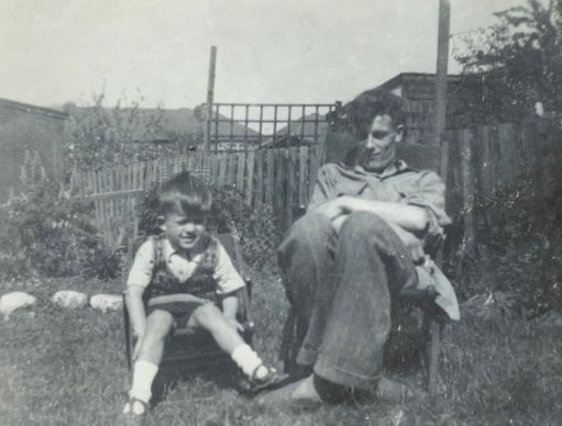 Bobby and his brother Tony sat side-by-side in deck-chairs in their back garden.