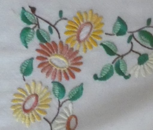 Embroidered flowers in a square pattern - detail of one of the corners.