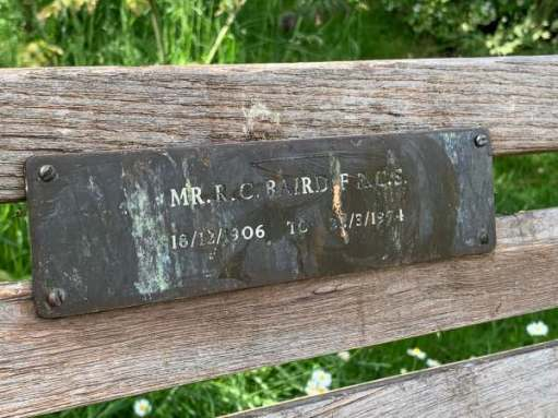 Memorial Bench to Mr R C Baird FRCS 16/12/1906 to 31/3/1974. (FRCS - Fellow of the Royal College of Surgeons).