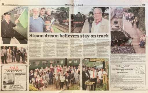 Newspaper cutting: Steam dream believers stay on track.