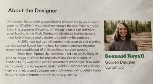About the desginer: Seonaid Royall.