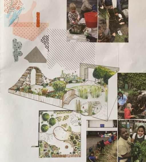 "Designs and photographs of the ""Believe in Tomorrow"" garden."