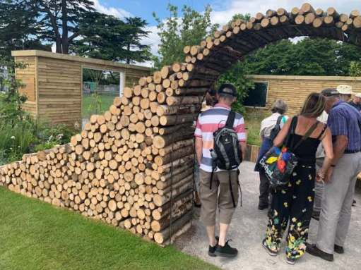 Wooden arch by Mike next door and his brother Pat. Logs from the National Trust.