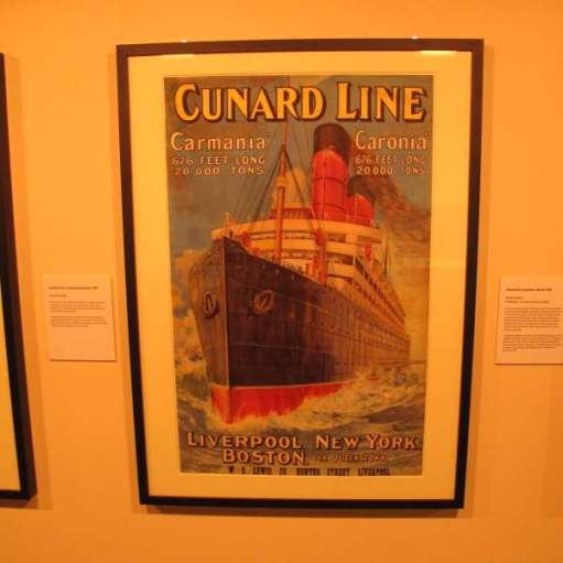 "Cunard Line Poster advertising ""Carmania"" and ""Caronia"", both 676' long and displacing 20,000 tons. Sailing Liverpool to New York and Boston."