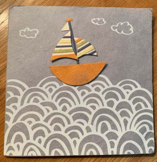 Card featuring an artistic yacht on a sea.