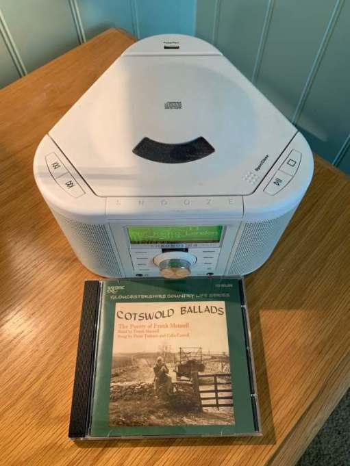 """A CD of Frank Mansell's """"Cotswold Ballards"""" in from of the Pure Radio/CD Player."""