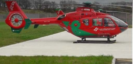 A Welsh Air Ambulanceo on the tarmac.