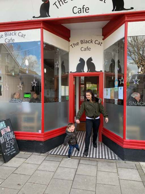 Jasmine and Little Jay at the Black Cat Café, Worthing.