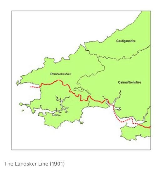 Map showing the Landsker Line.