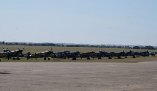 Line up of Spitfires at Duxford 2019.