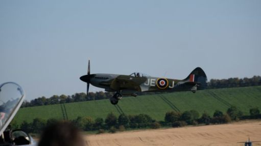 Spitfire flying low at Duxford 2019.