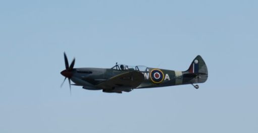 2-seater Spitfire flying at Duxford 2019.