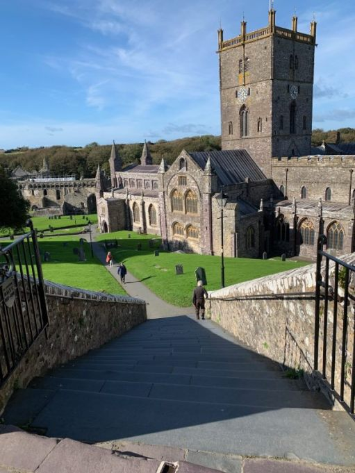 Looking back down to St David's Cathedral.