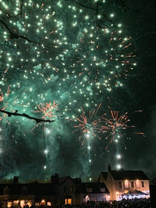Fireworks seen over the rooftops at Brockham.
