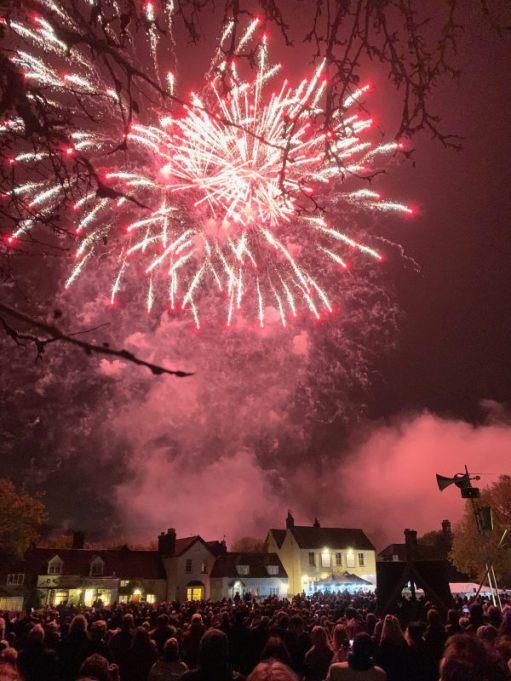 Red fireworks at Brockham.