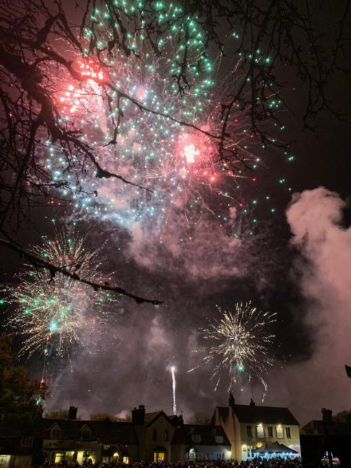 Multi-coloured fireworks over Brockham.