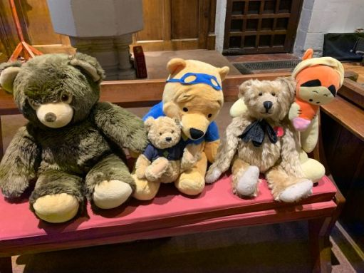 Bertie sat amongst the other bears in Bear Corner at St Mary Magdalene.