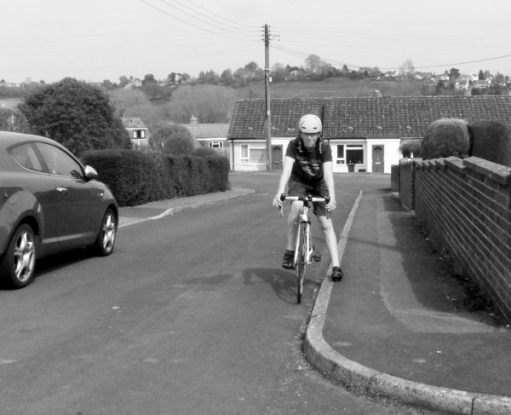 Jamie, my 13 year old grandson, on his new bike. Taken on 10 May 2019 in the same spot on Harper Road, Cashes Green, Stroud.