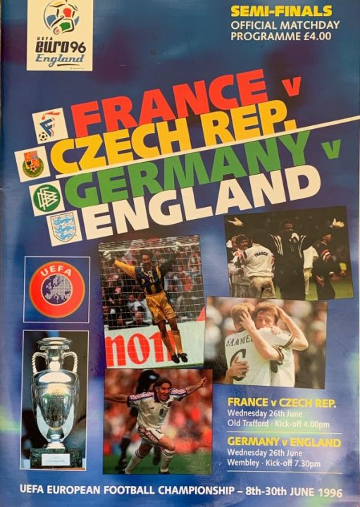 Front cover of the Euro 96 Semi-Finals Programme.