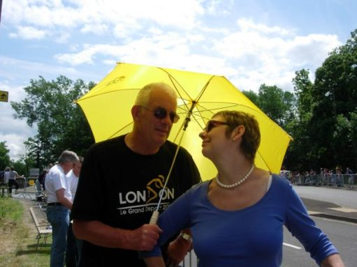 Bobby & Diddley under a yellow umbrella.