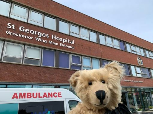 Bertie posing outside St George's Hospital.
