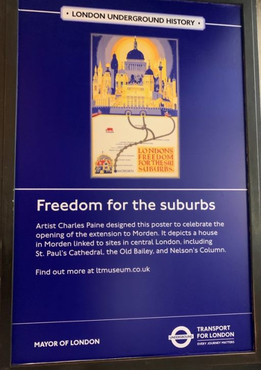 "Poster depicting ""Freedom for the Suburbs"" with a copy of the original designed by Artist Charles Paine."