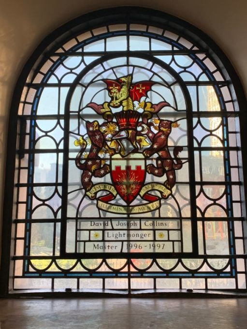 Stained glass window in St Botolphs dedicated to David Joseph Collins, Lightmonger, Master 1996-1997.