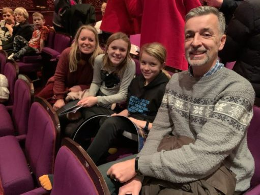 In the auditorium - Happy times: Andrew, Daisy-Mae, Giselle, Marie.
