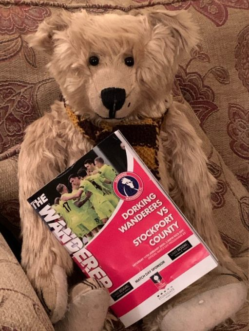 Bertie with the Dorking Wanderers v Stockport County programme.