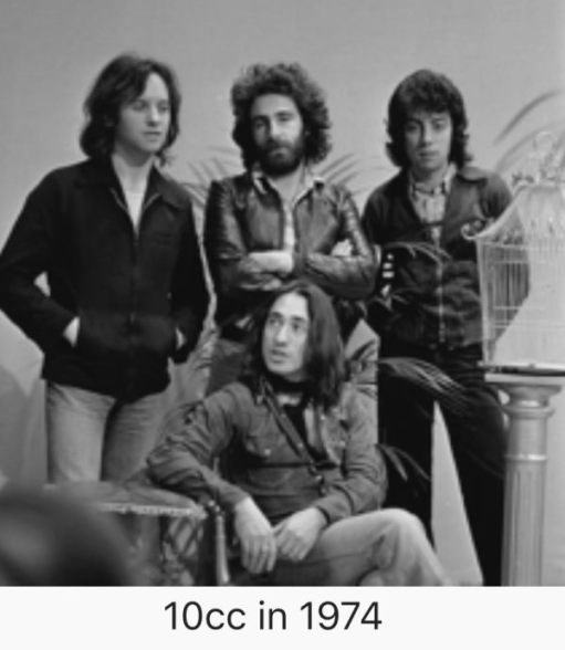 A Black & White photograph of 10cc in 1974.