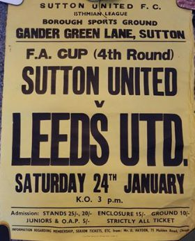 Poster for Sutton United vs Leeds United. FA Cup (4th Round) Sat 24 January 1970.