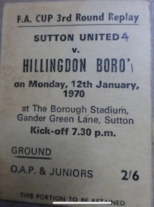 I Woz There! Ticket from the Sutton United vs Hillingdon Boro replay Saturday 12 January 1970, marked with the final result 4-1!