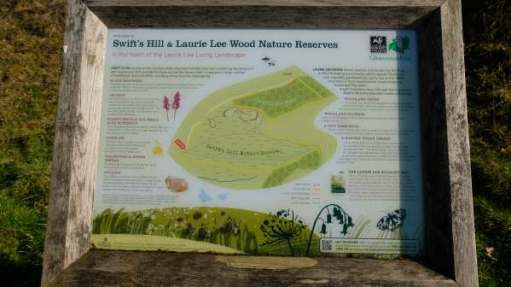 Interpretation board : Swift's Hill and Laurie Lee Wood Nature Reserve.