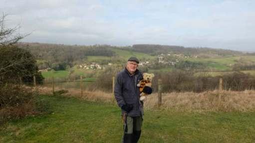 Bobby holding Bertie above Slad on Swift's Hill.