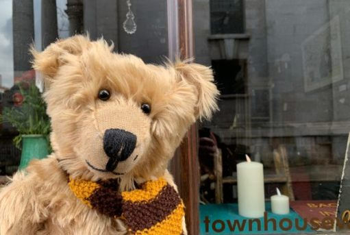 Bertie, wearing his Sutton United scarf outside The Townhouse, Fournier Street.