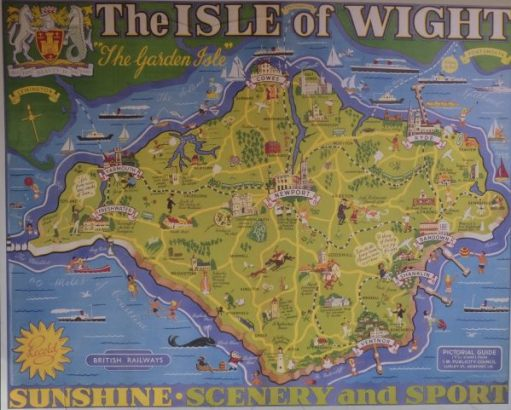 Map of the Isle of Wight, showing the once extensive rail network.