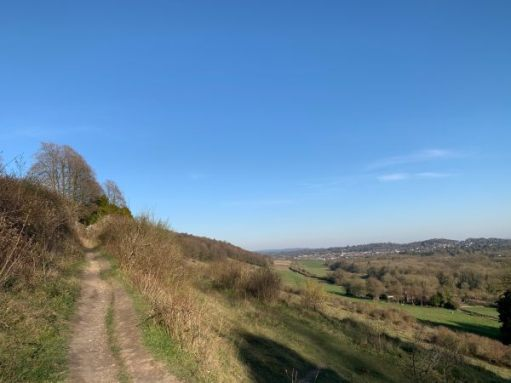 Heading eastward, uphill along the path. Dorking to the right.